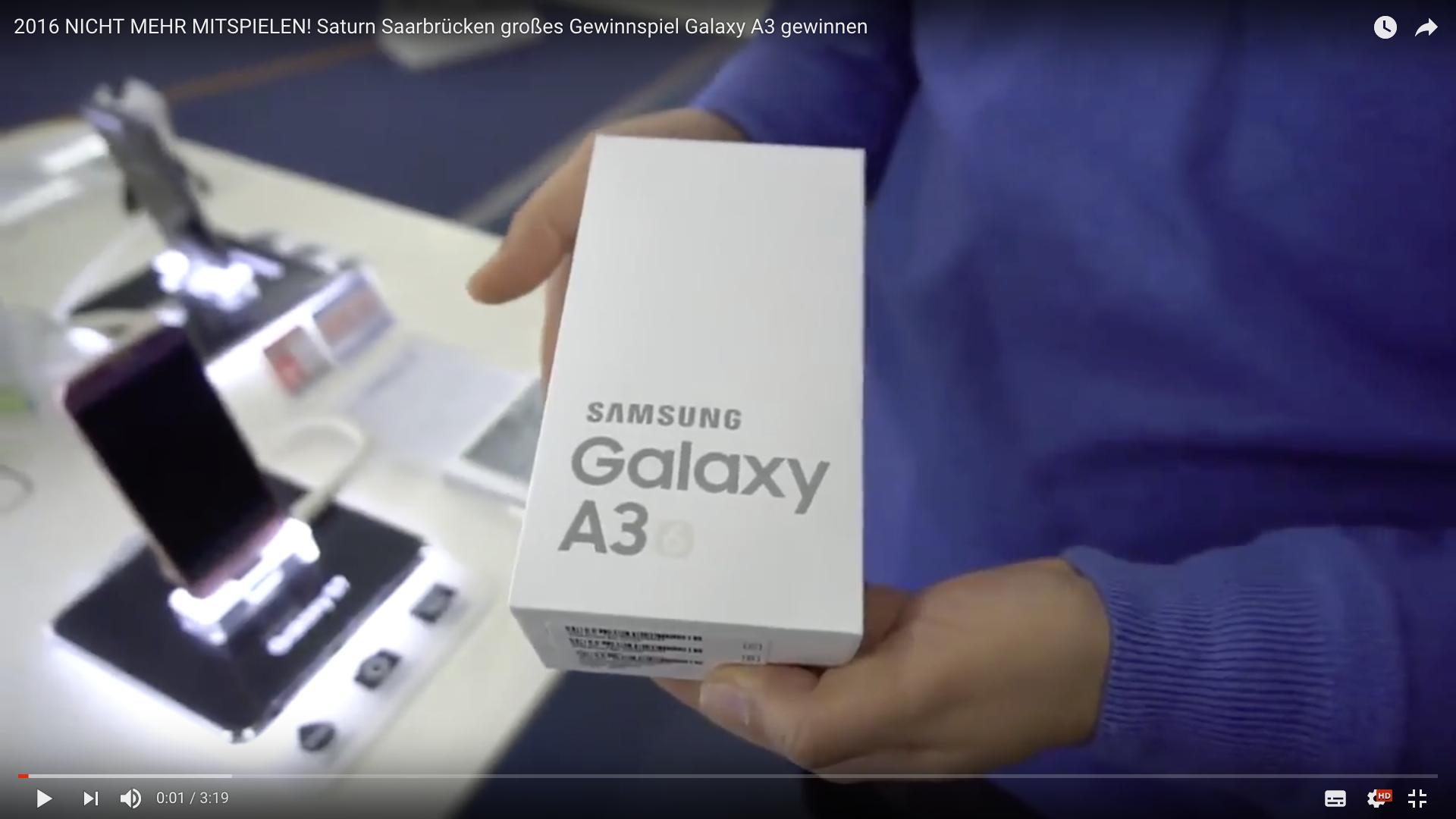 2017 Saturn Saarbrücken großes Gewinnspiel Galaxy A3 Gewinn_MSM_MEDIEN_SAAR_MOSEL_SAARLAND_FERNSEHEN_1_ED_SAAR